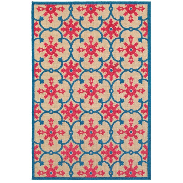 Luisa Sand/Pink Outdoor Area Rug by Bungalow Rose
