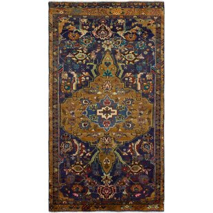 One-of-a-Kind Houghtaling Hand-Knotted 3'7 x 6'9 Wool Light Brown/Navy Blue Area Rug by World Menagerie