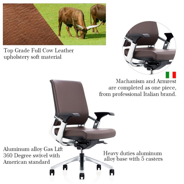 Iglesias Deluxe Multi Function Genuine Leather Executive Chair by Orren Ellis