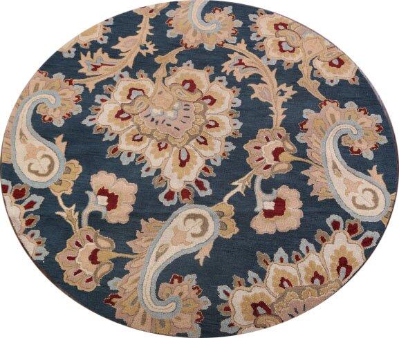 Kara Agra Oriental Hand-Tufted Wool Beige/Blue Area Rug by Charlton Home