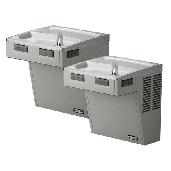 Barrier-Free ADA Compliant 2 Station Wall Mount Drinking Fountain without Motor by Elkay