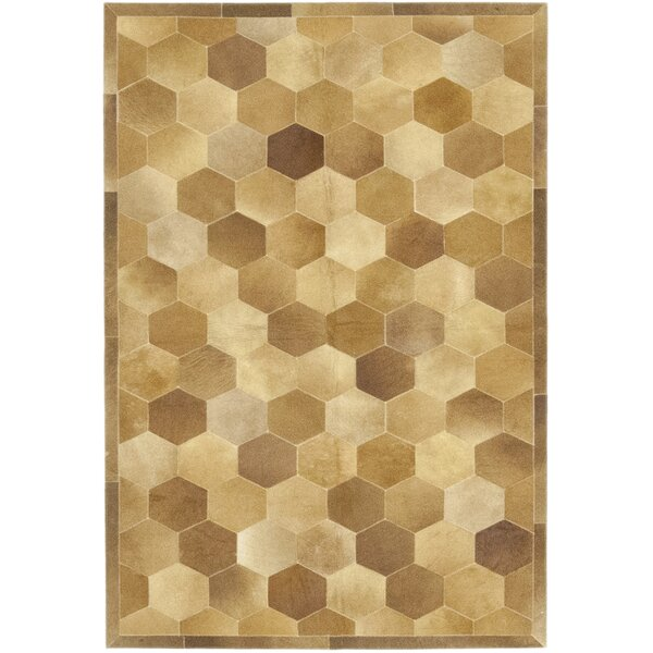 Cueva Hand-Woven Cowhide Brown/Beige Indoor Area Rug by Isabelline