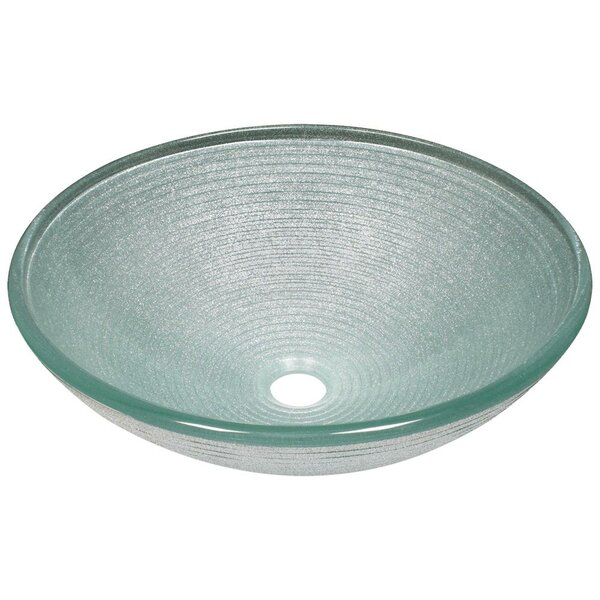 Iridescent Foil Undertone Glass Circular Vessel Bathroom Sink by MR Direct