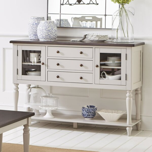 Frannie Wood and Glass Buffet Table by Highland Dunes