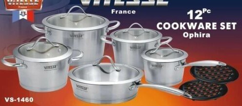Vitesse Tri-Ply 12 Piece Cookware Set by Concord Cookware