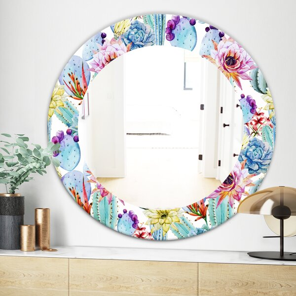 Blossoming Cactus with Tropical Flower Bohemian and Eclectic Wall Mirror