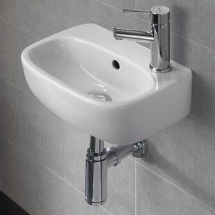 Affordable Moda Vitreous China 15 Wall Mount Bathroom Sink with Overflow By Bissonnet