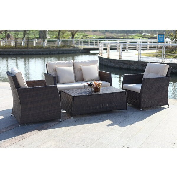 Gilson 4 Piece Rattan Sofa Set with Cushions by Alcott Hill