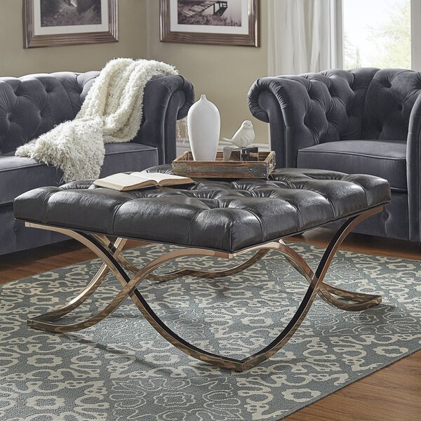 Gilham Faux Leather Ottoman By House Of Hampton #1