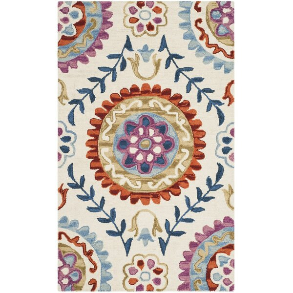 Suzani Hand-Hooked Ivory/Blue Area Rug by Bungalow Rose