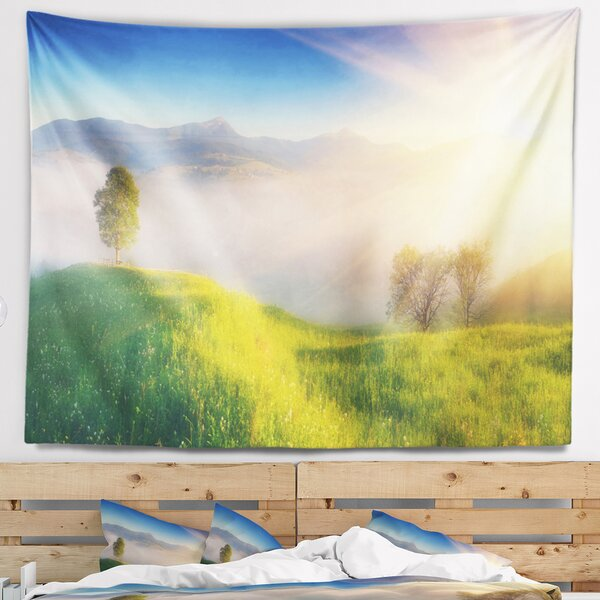 Landscape Morning Mist over Mountain Village Tapestry and Wall Hanging by East Urban Home