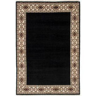 Find the perfect One-of-a-Kind Renley Hand-Knotted Wool Black Area Rug By Isabelline