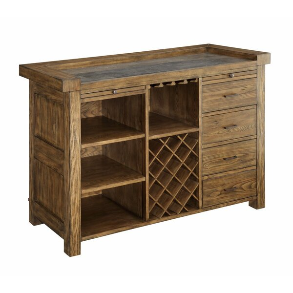Ruffner Wooden Spacious Bar with Wine Storage by Loon Peak