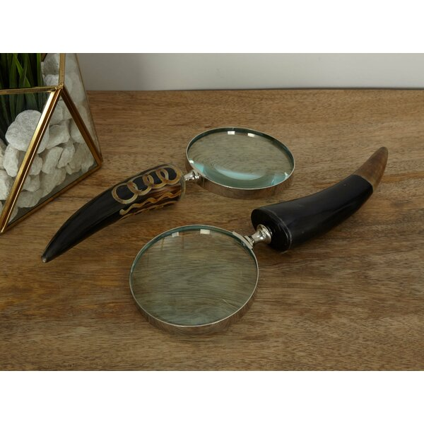 2 Piece Brass Horn Magnifying Glass Set by Cole & Grey