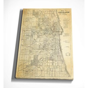 'Chicago Map' Graphic Art Print on Wrapped Canvas by Wexford Home