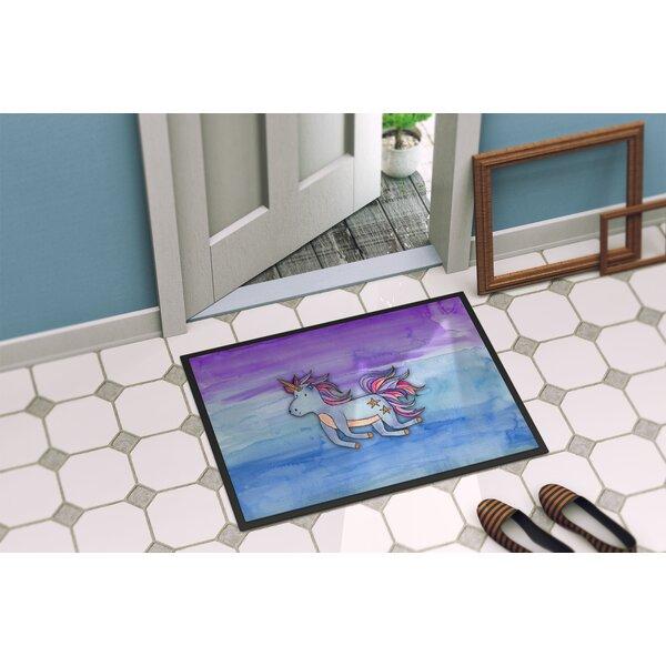 Zelma Unicorn Watercolor Non-Slip Outdoor Door Mat