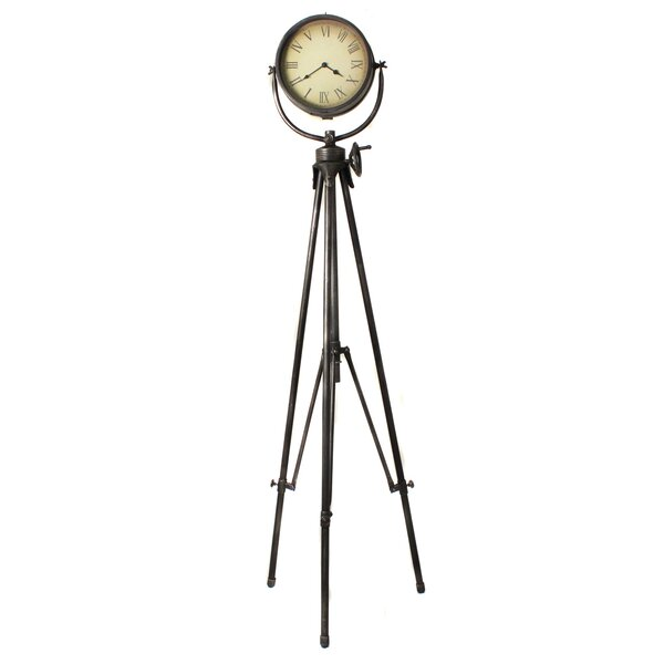 Urban Weathered Industrial Studio Tripod Floor Clock by EC World Imports
