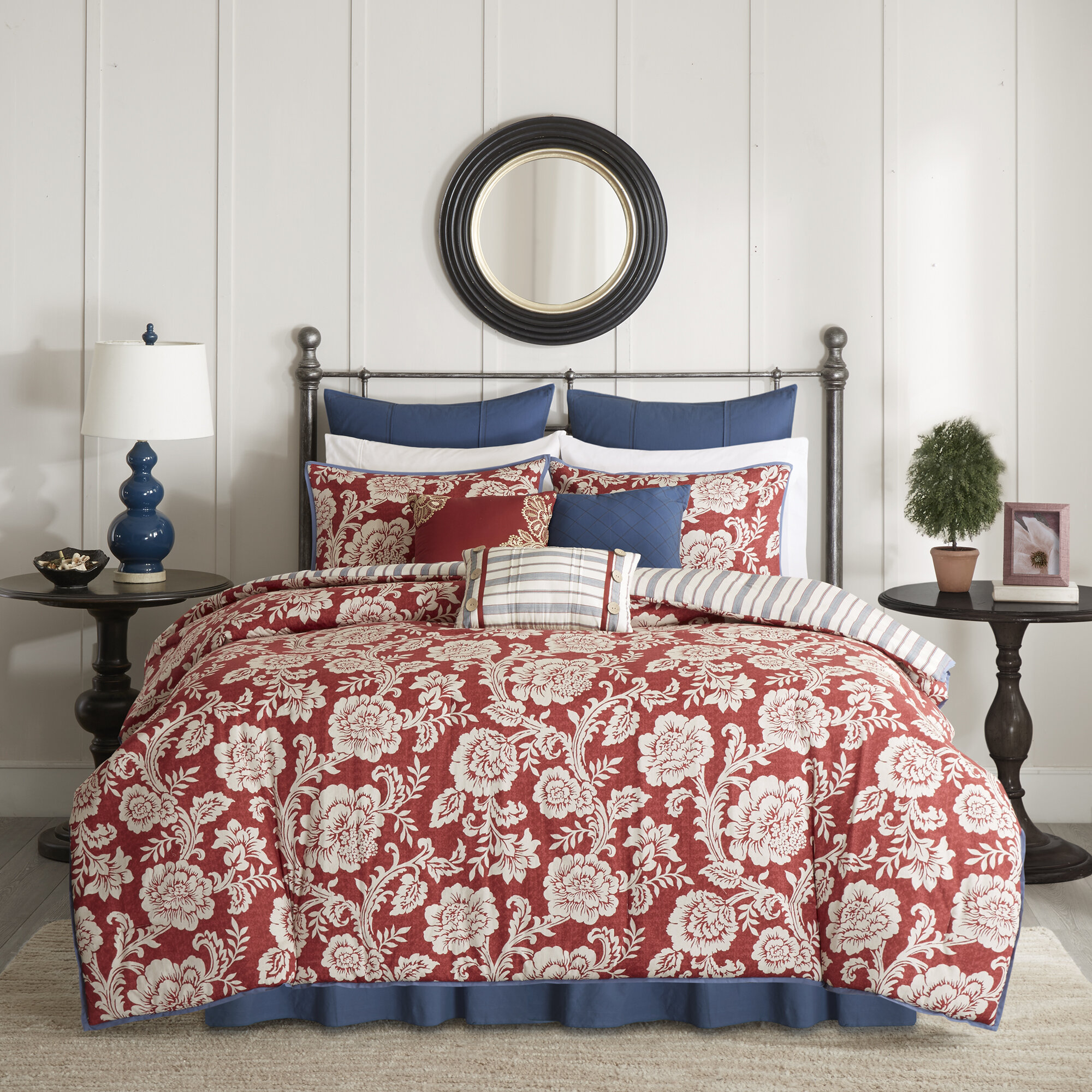 Three Posts Dolton Cotton 9 Piece Reversible Comforter Set U0026 Reviews |  Wayfair