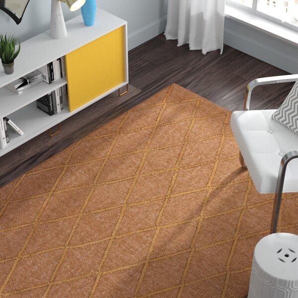 Rachelle Hand-Woven Camel/Burnt Orange Area Rug by Zipcode Design