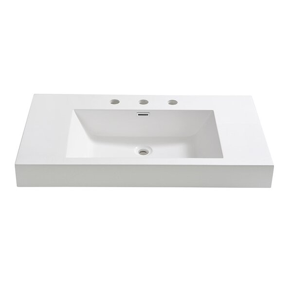 Vista Rectangular Drop-In Bathroom Sink with Overf