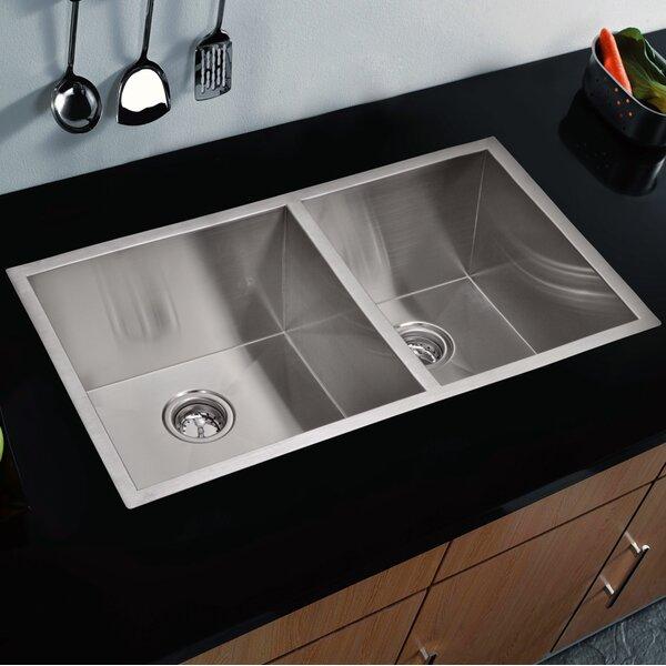 Zero Radius 60/40 Stainless Steel 33 L x 20 W Double Basin Undermount Kitchen Sink by dCOR design