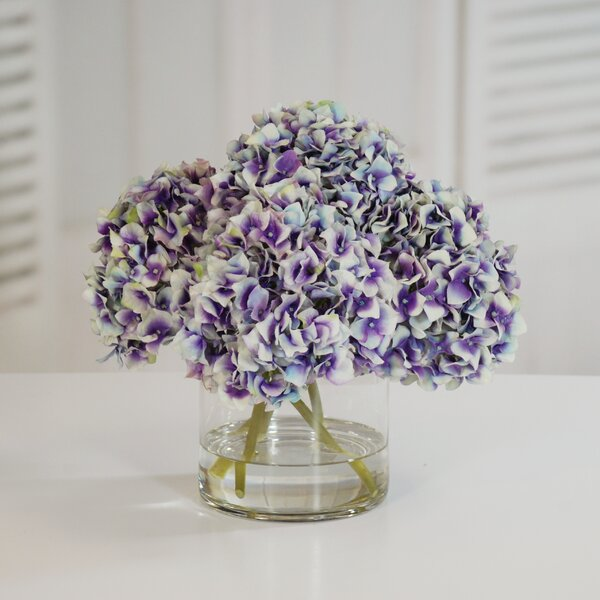 Hydrangea Centerpiece in Glass Vase by Darby Home Co