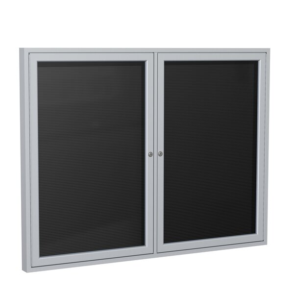 Ghent 2 Door Enclosed Letter Board with Satin Aluminum Frame by Ghent
