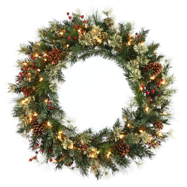 24 Lighted Artificial Nisswa Berry Pine with Pine Cones Christmas Wreath by Vickerman