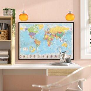 World map cork board wayfair world map framed graphic art print poster gumiabroncs Gallery