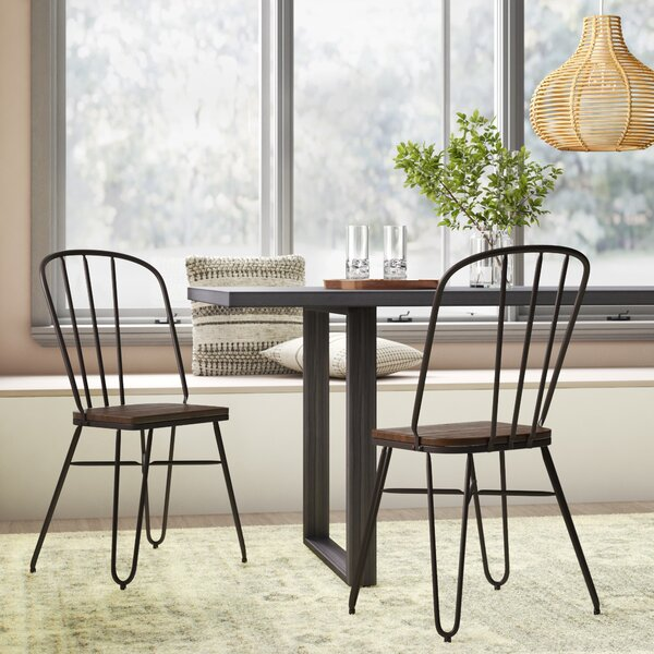 Szymanski Industrial Solid Wood Dining Chair (Set of 2) by Mistana