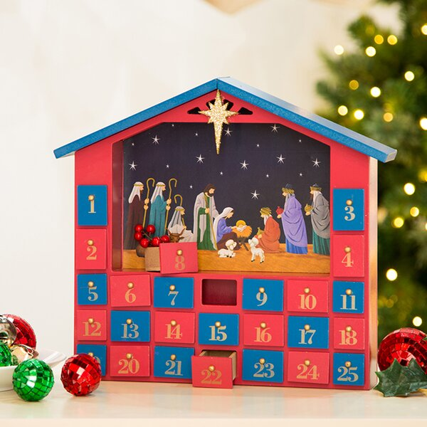Wooden House Count Down Calendar with Drawer by The Holiday Aisle