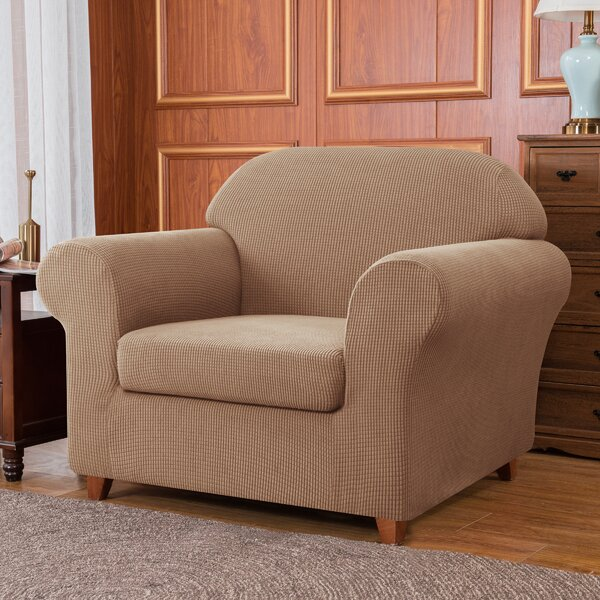 Jacquard High Stretch Box Cushion Armchair Slipcover By Winston Porter