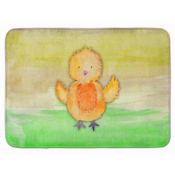 Breanne Chicken Hen Watercolor Rectangle Microfiber Non-Slip Bath Rug