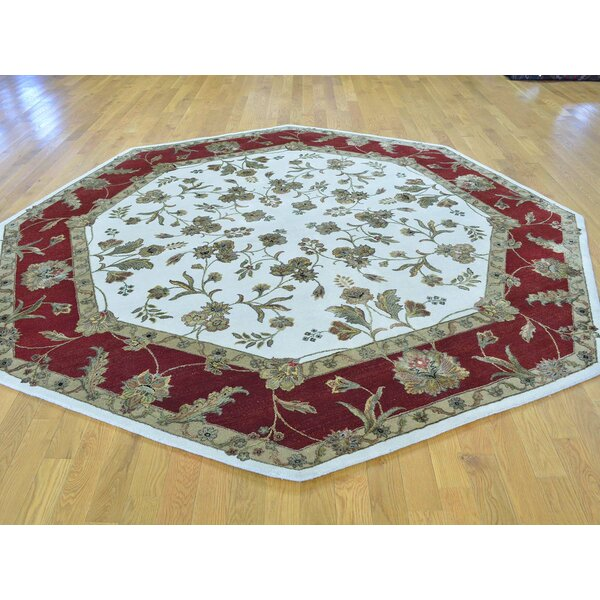 One-of-a-Kind Bear Octagonal Hand-Knotted Ivory Wool/Silk Area Rug by Isabelline