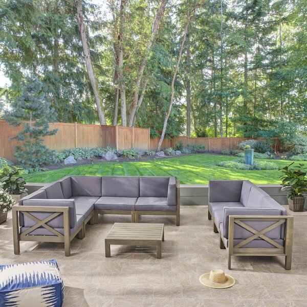 Carlton Outdoor 9 Piece Sectional Seating Group by Longshore Tides