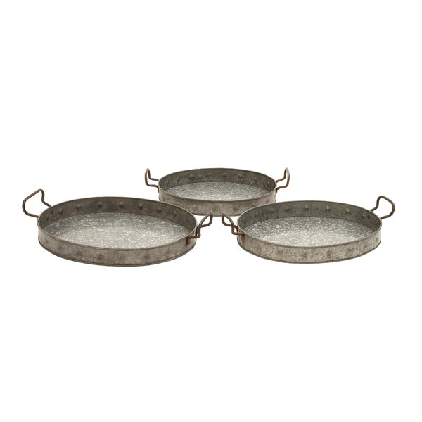 Galvanized 3 Piece Serving Tray Set by Cole & Grey
