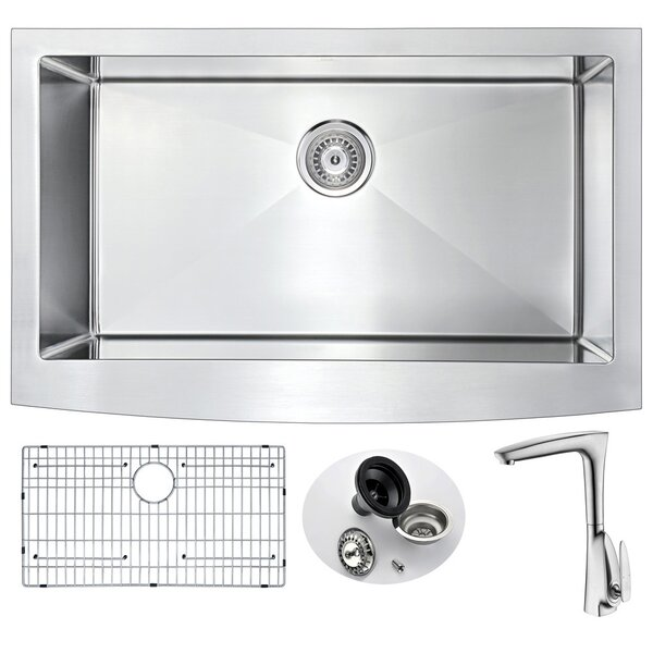 Elysian 36 x 21 Farmhouse Kitchen Sink with Faucet and Drain Assembly by ANZZI
