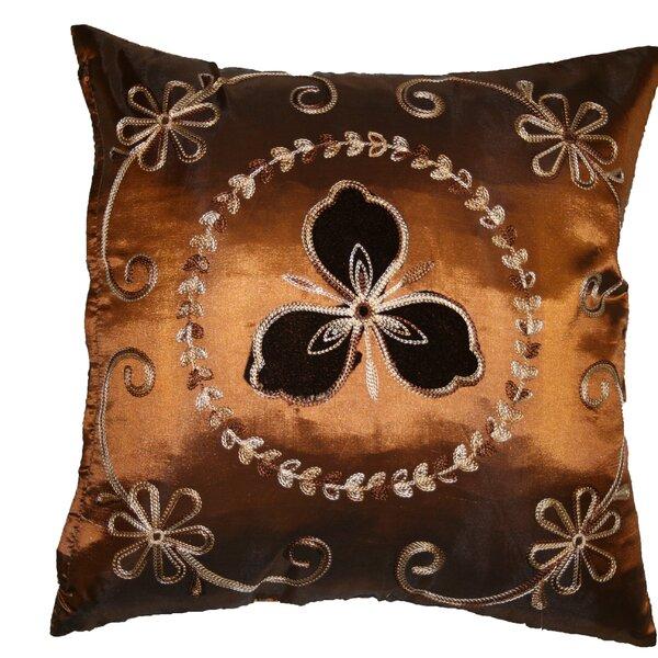 Silky Ornate Embroidered Velvet Floral Design Decorative Cushion Cover by Violet Linen