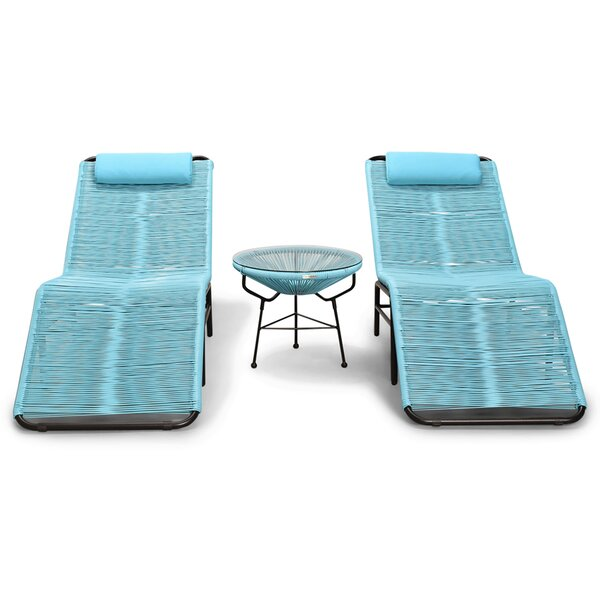 Ehrlich 5 Piece Chaise Lounge with Table