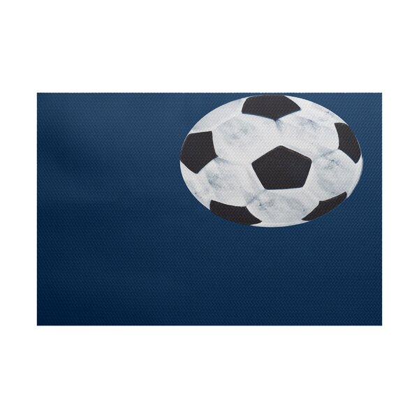 Bauer Navy Blue Area Rug by Zoomie Kids