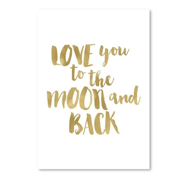 Love You To Moon Back Paper Print by Viv + Rae