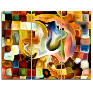 Way of Inner Paint - 3 Piece Graphic Art on Wrapped Canvas Set by Design Art
