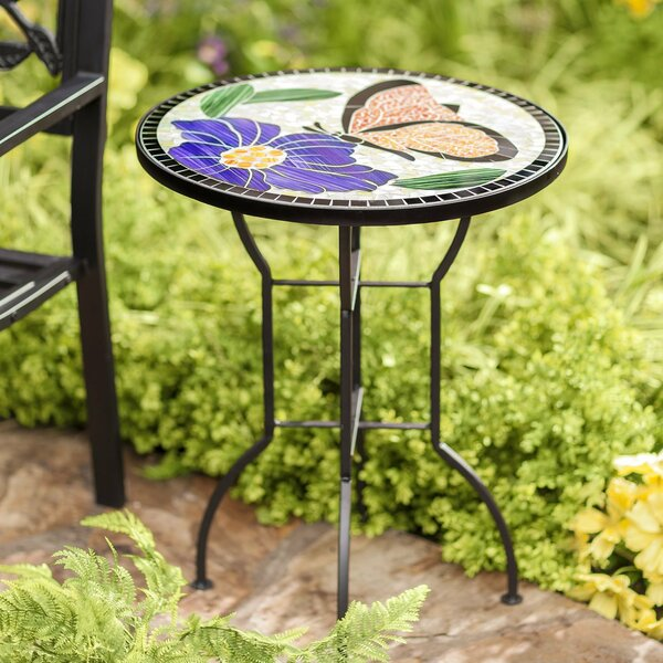 Mosaic Butterfly Metal Side Table by Wind & Weather