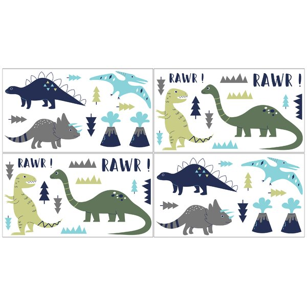 Blue and Green Mod Dinosaur Collection Wall Decal (Set of 4) by Sweet Jojo Designs