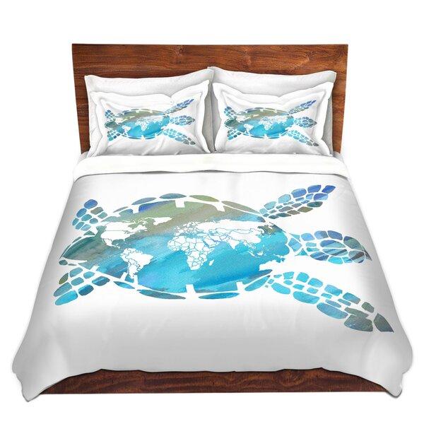 World Map Sea Turtle Duvet Cover Set