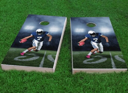 Football Player Running with Ball Cornhole Game (Set of 2) by Custom Cornhole Boards