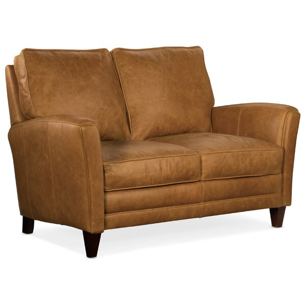 Zion Genuine Leather 63'' Flared Arm Loveseat By Bradington-Young
