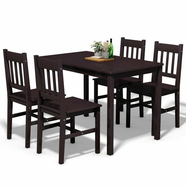 Sundberg 5 Piece Solid Wood Dining Set by Winston Porter