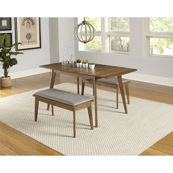 Rockaway 3 Piece Extendable Solid Wood Dining Set by Bungalow Rose Bungalow Rose