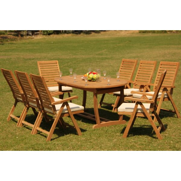 Macedonia 9 Piece Teak Dining Set by Rosecliff Heights